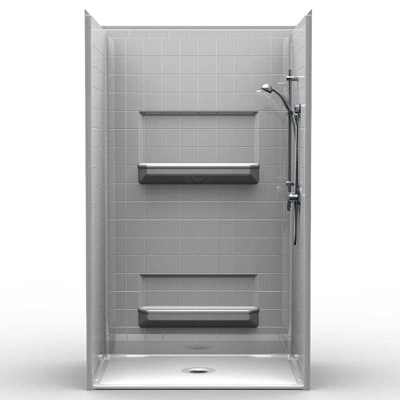 4LRS4834B5B : Four Piece 48u201d X 34u201d Roll In Shower Package, .5u201d Threshold,  Center Drain