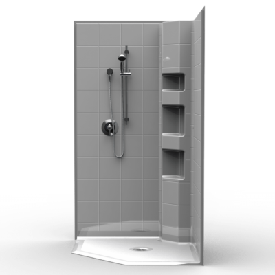 "Three Piece 42"" x 42"" Neo-Angle Roll-in Shower"