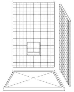 "3 Piece 48"" X 48"" Corner Walk-in Shower"