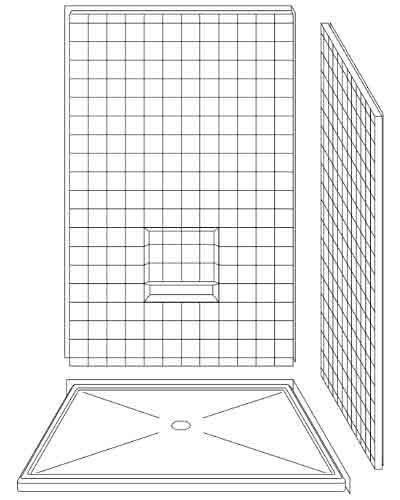 """3 Piece 48"""" X 48"""" Corner Walk-in Shower"""
