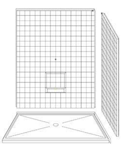 """3 Piece 60"""" X 48"""" Corner Walk-in Shower"""