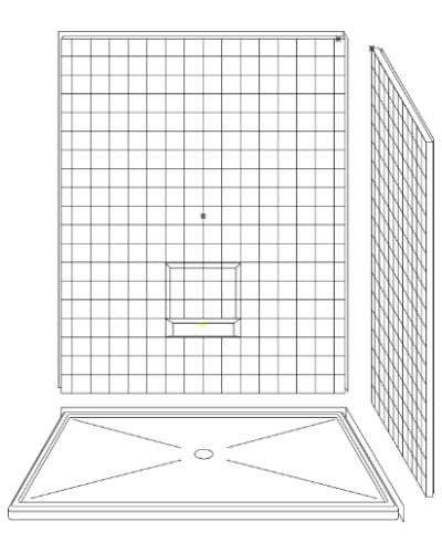 "3 Piece 60"" X 48"" Corner Walk-in Shower"