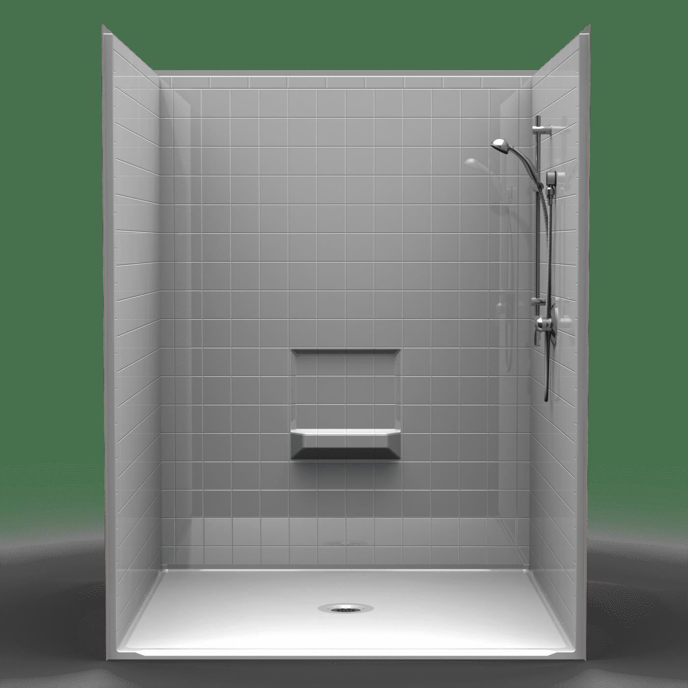 Best Bath Shower Pans 4lrs6060b1b Four Piece 60 X 60 Roll In Shower 1