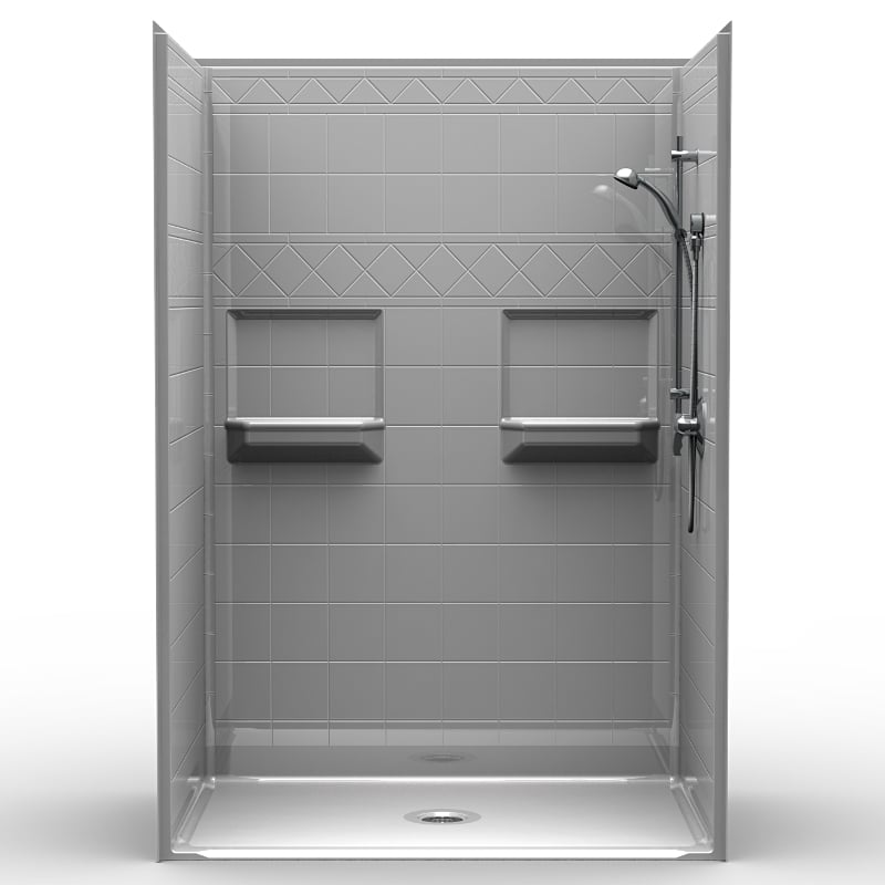 "5LDS5436B75B : Five Piece 54"" x 36"" Roll in Shower, .75"" Threshold"