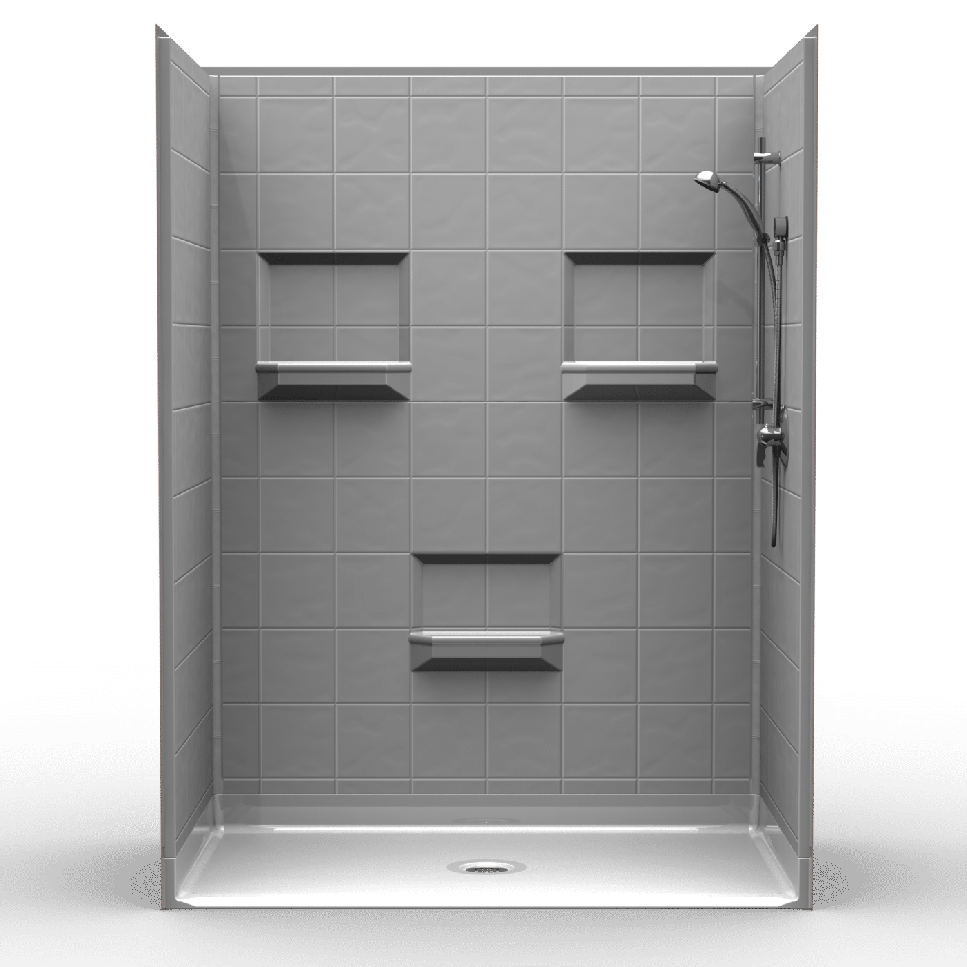 5les6036b75b Five Piece 60 X 36 Roll In Shower Package