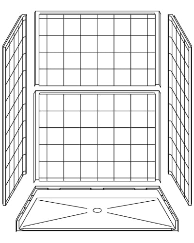 "5 Piece 60"" X 36"" Roll-in Shower"