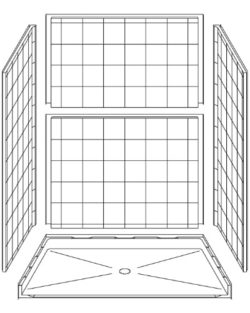 "5 Piece 60"" X 42"" Roll-in Shower"