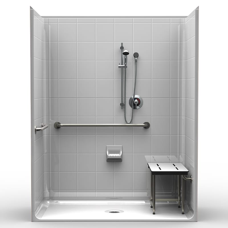 5LES6333A75B : Five Piece 63u201d X 33u201d ADA Shower, .75u2033 Beveled Threshold,  Center Drain