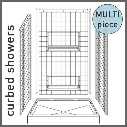 Multi-Piece Curbed Showers