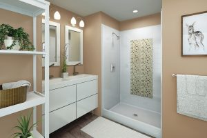 walk in showers with recessed inlays