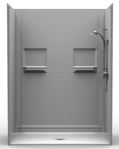 "5LBS6034B75B: Five Piece 60"" x 34"" Roll-in Shower, .75"" Threshold, Center Drain, ""Subway Tile"""