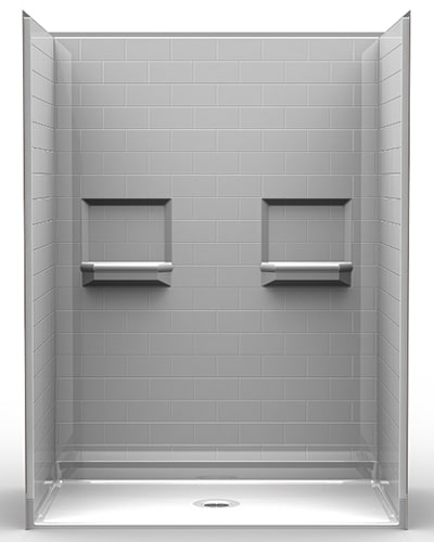 "5LBS6036B75B: Five Piece 60"" x 36"" Roll-in Shower, .75"" Threshold, Center Drain, ""Subway Tile"""