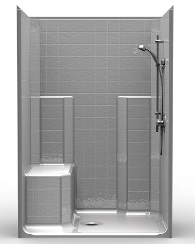Css4834b12b One Piece 48 X 34 Walk In Shower 1 25 Threshold Center Drain And Mold Seat