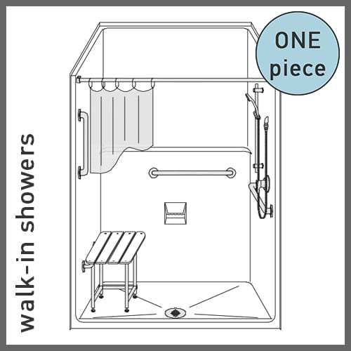 One-Piece Walk-in Showers