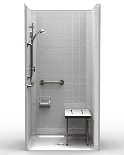 "Handicap Bathroom Showers: LCS4038A5T: One-Piece 40"" X 38"" ADA Shower, .5"