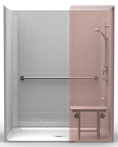 lcs6337w75b onepiece 63u201d x 37u201d ada shower 75u2033 beveled threshold center drain and wingwall