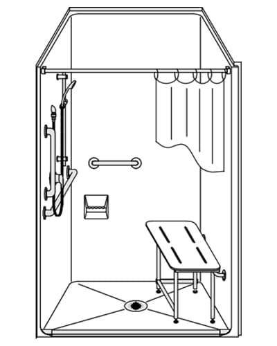 lss4038a5b onepiece 40u201d x 38u201d ada shower 5u2033 beveled threshold center drain