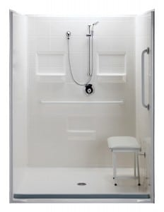 "5 Piece 60""X48"" Roll-in SHower Package"