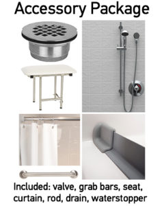 Accessories packages are available for all our showers