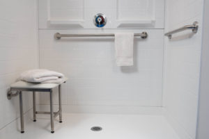 48 Inch Shower Stall Close up panels with padded seat