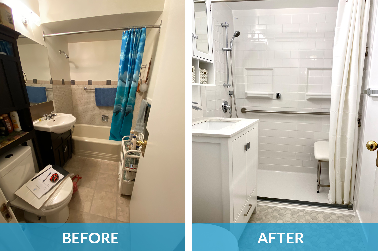 before and after accessible bathroom transformation