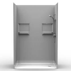"""5LBS5430E75B, Five Piece 54"""" x 30"""" Roll-in Shower, .75"""" Threshold, End Drain, """"Subway Tile"""""""