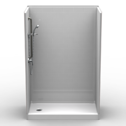 "5LBS5430FB.V2 L/R, Five Piece 54"" x 30"" Curbed Shower, 4"" Threshold, End Drain, ""Subway Tile"""