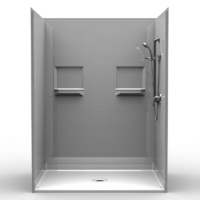 "5LBS6048B1B, Five Piece 60"" x 48"" Roll-in Shower, 1"" Threshold, Centre Drain, ""Subway Tile"""