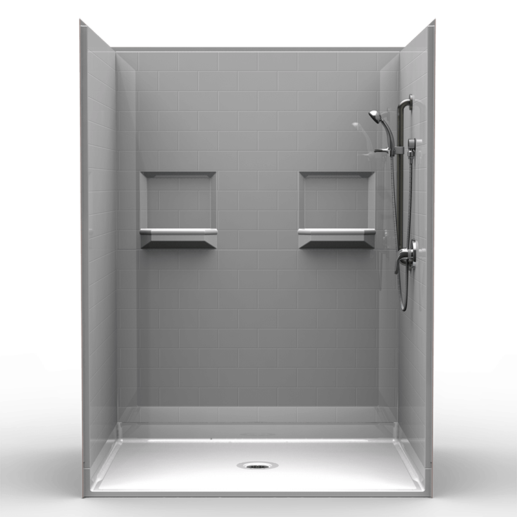 "5LBS6048B1B, Five Piece 60"" x 48"" Roll-in Shower, 1"" Threshold, Centre Drain, ""Subway Tile"""